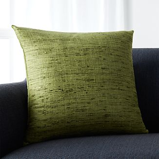 """Trevino Chive Green 20"""" Pillow with Feather-Down Insert"""