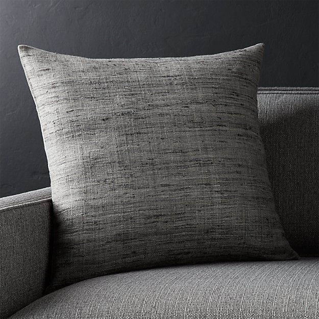 "Trevino Nickel Grey 20"" Pillow with Feather-Down Insert - Image 1 of 2"