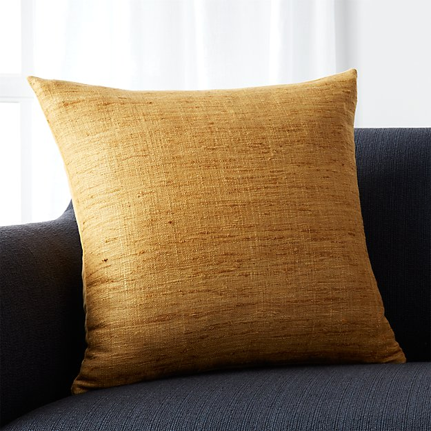 Yellow Silk Decorative Pillows : Trevino Yellow Silk Pillow Crate and Barrel