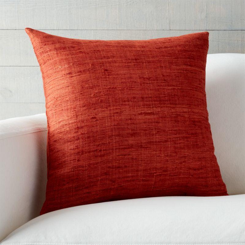 burnt orange throw pillows Trevino Burnt Orange Pillow | Crate and Barrel burnt orange throw pillows