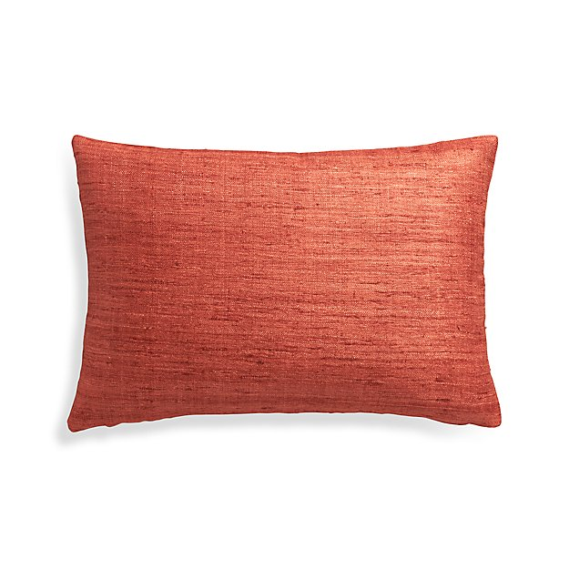 Orange Throw Pillows Crate And Barrel : Orange Silk Lumbar Pillow Cover Crate and Barrel