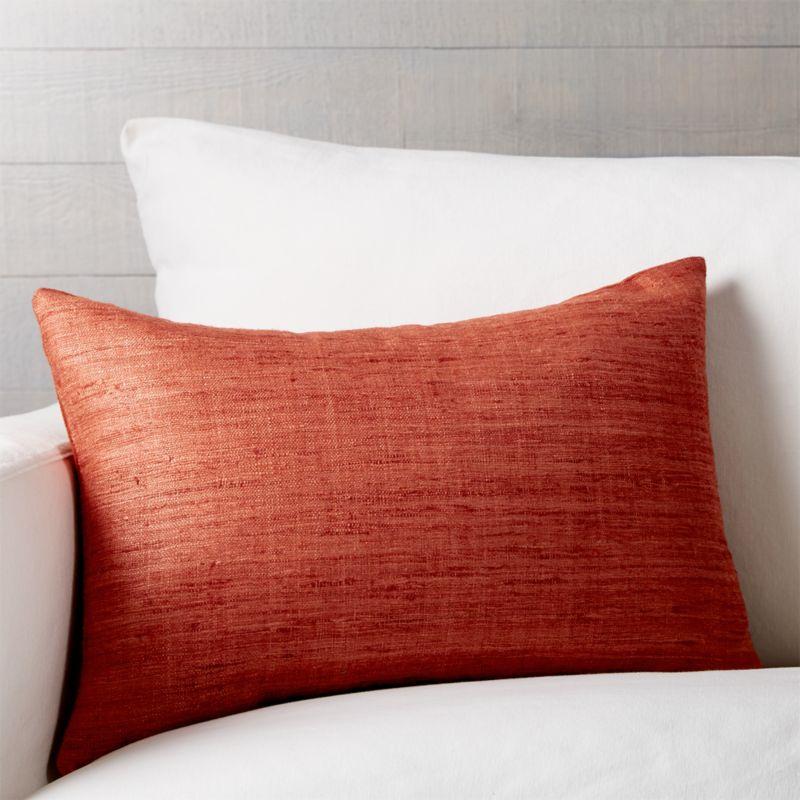 Orange Silk Lumbar Pillow With Down Alternative In