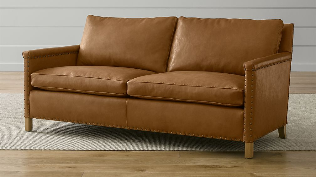 Trevor Camel Leather Apartment Sofa + Reviews | Crate and Barrel