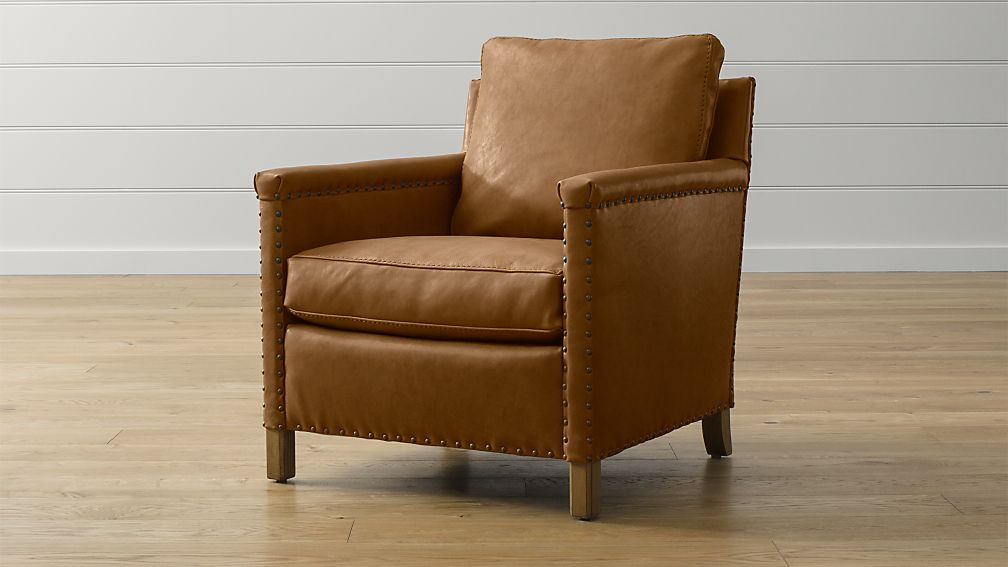 Trevor Leather Chair + Reviews | Crate and Barrel