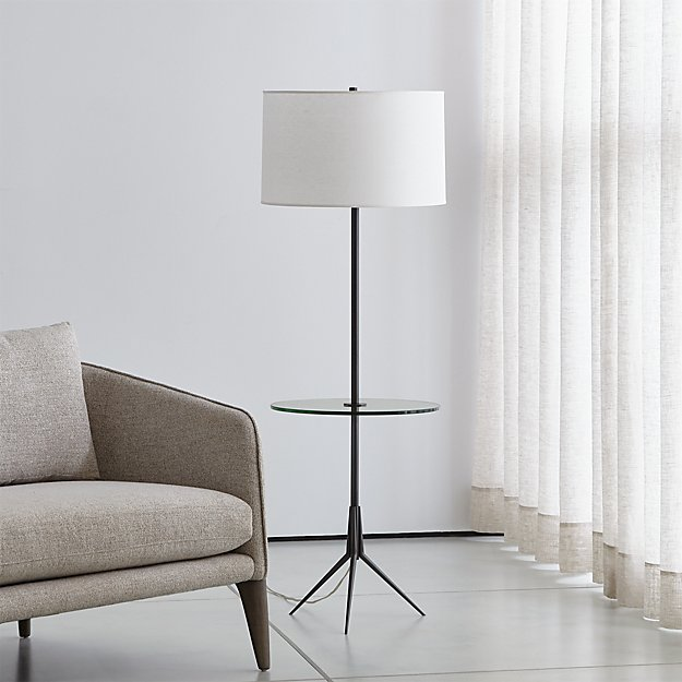 Trey Floor Lamp With Glass Table - Image 1 of 5