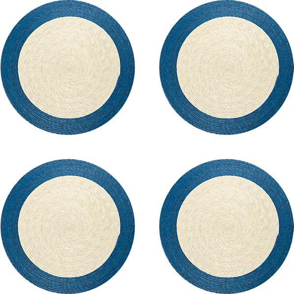 Set of 4 Tropic Palm Blue Trim Placemats