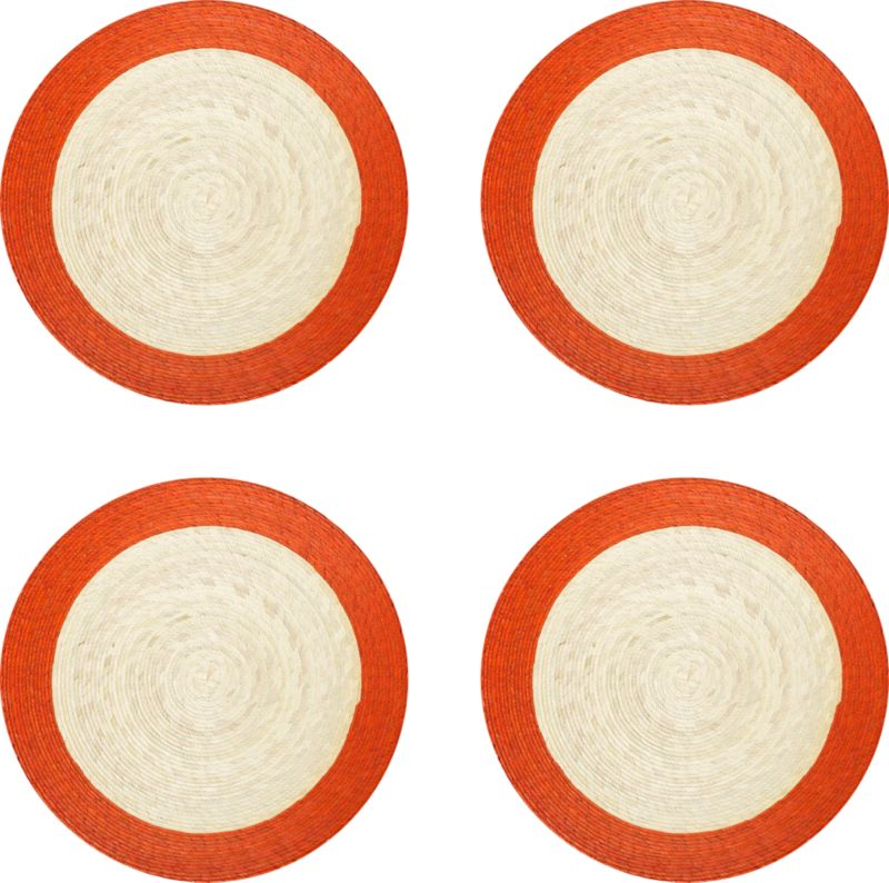 Colorful round with contrasting rim is handmade from natural palm fibers and sealed with a wax finish for easy cleanup.<br /><br /><NEWTAG/><ul><li>98% palm fiber and 2% string</li><li>Wipe clean with damp cloth</li></ul>