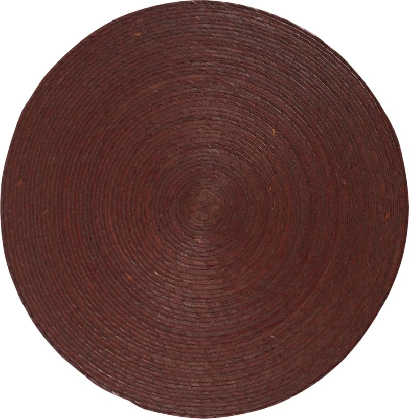 Colorful round is handmade from natural Mexican palm and sealed with a wax finish for easy cleanup.<br /><br /><NEWTAG/><ul><li>100% palm fiber placemat</li><li>Clean placemat with a damp cloth</li></ul><br />