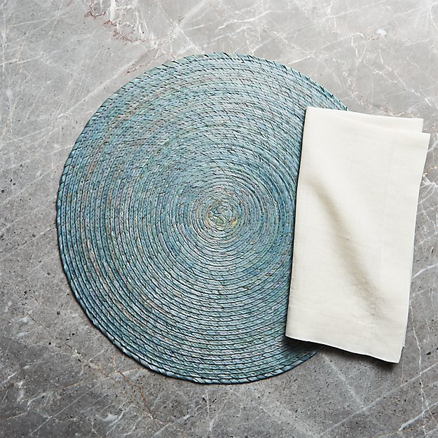 Tropical Palm Sage Green Round Placemat and Helena Vanilla Linen Dinner Napkin