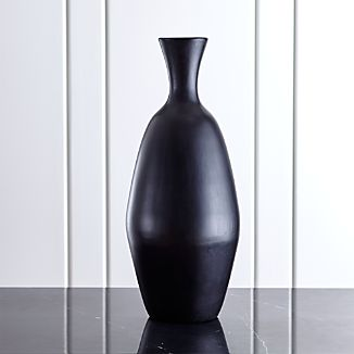 Trumpet Large Black Ceramic Vase