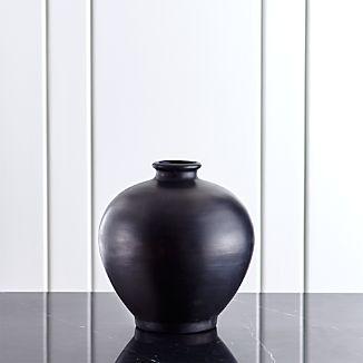 Trumpet Small Black Ceramic Vase