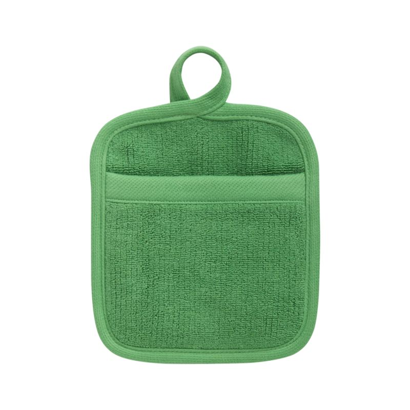 Refined kitchen essential in fresh holiday green is woven of combed cotton with luxe terry pile. Potholder is finished with convenient hanging loop.<br /><br /><NEWTAG/><ul><li>100% dobby woven cotton</li><li>Reactive dye wash finish</li><li>Machine wash</li></ul>