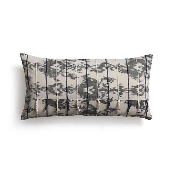 """Tuku Grey 24""""x12"""" Pillow with Feather-Down Insert"""