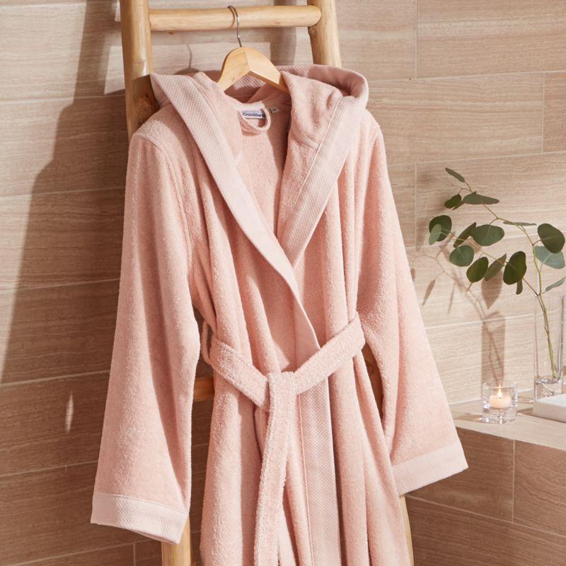 warm fluffy luxury light pink turkish bath robe