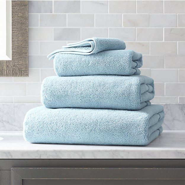 4ec31d405a26a Turkish Cotton 800-Gram Sky Blue Bath Towels | Crate and Barrel
