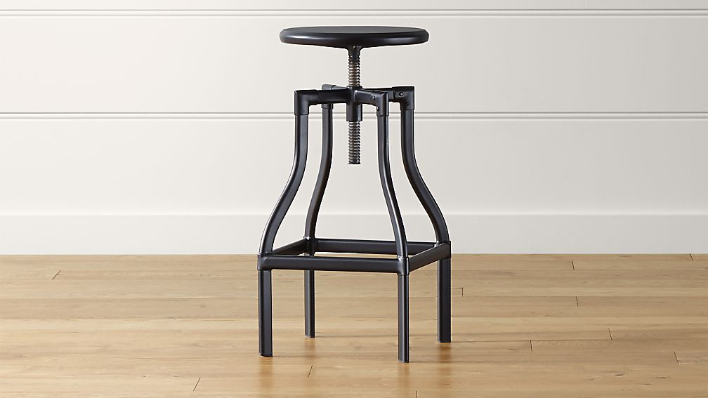 Turner Black Adjustable Backless Bar Stool