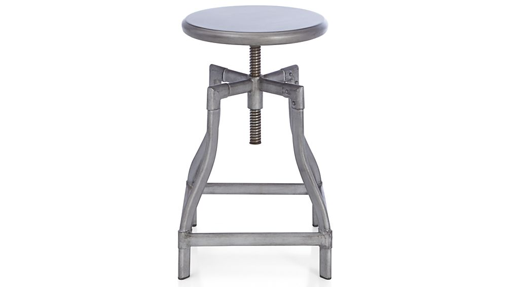 Turner Gunmetal Adjustable Backless Bar Stools And Linen Cushion | Crate  And Barrel