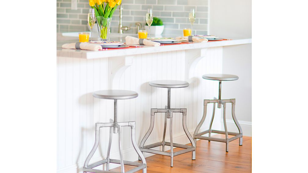 Turner Gunmetal Adjustable Backless Bar Stool Crate And
