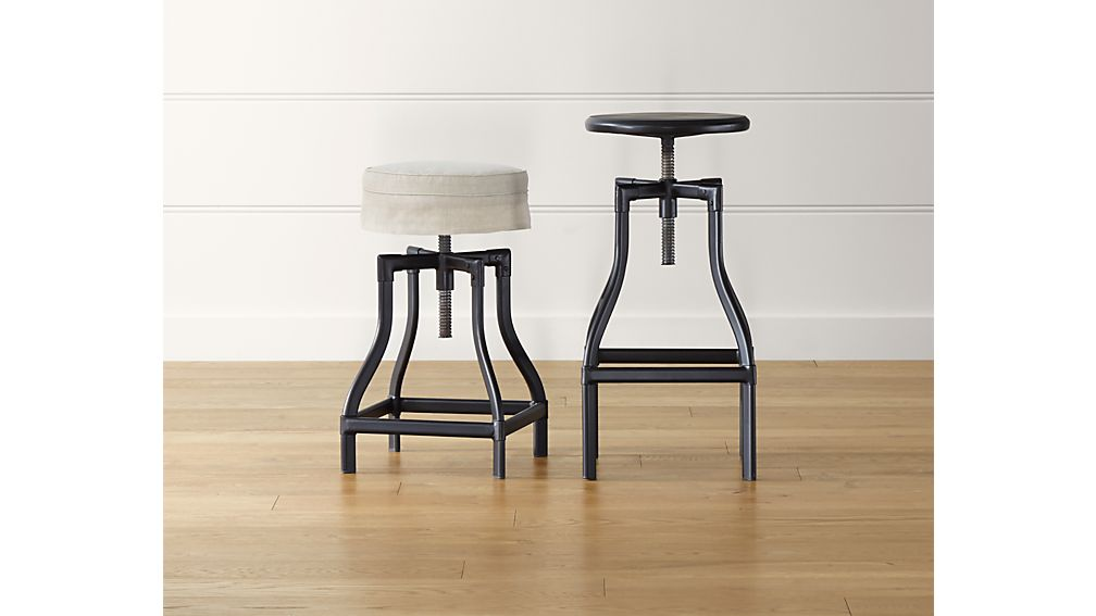Superbe Turner Black Adjustable Backless Bar Stools And Linen Cushion | Crate And  Barrel