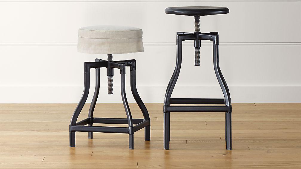 Turner Black Adjustable Backless Bar Stools and Linen Cushion - Image 1 of 12