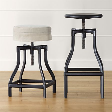 Marvelous Turner Black Adjustable Backless Bar Stools And Linen Cushion Uwap Interior Chair Design Uwaporg