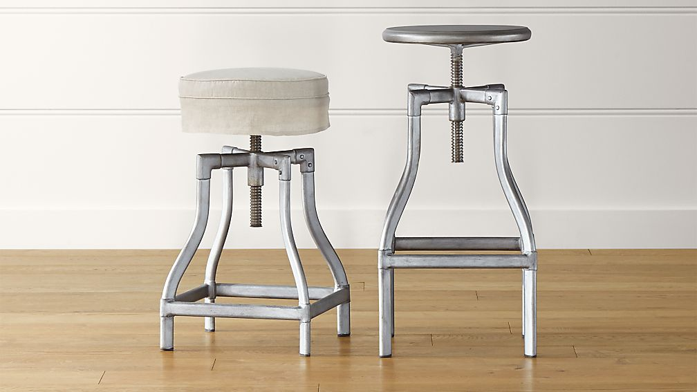 Turner Gunmetal Adjustable Backless Bar Stools and Linen Cushion | Crate and Barrel : adjustable wood bar stools - islam-shia.org