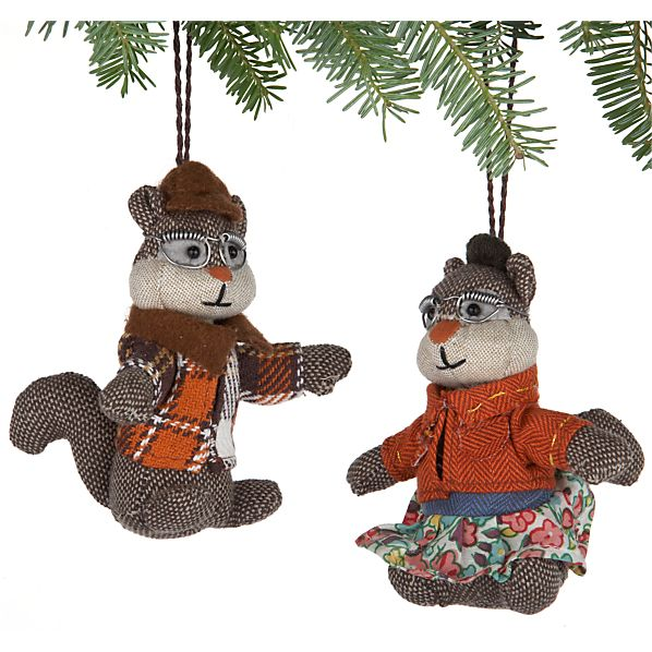 Set of 2 Tweed Chipmunk Ornaments
