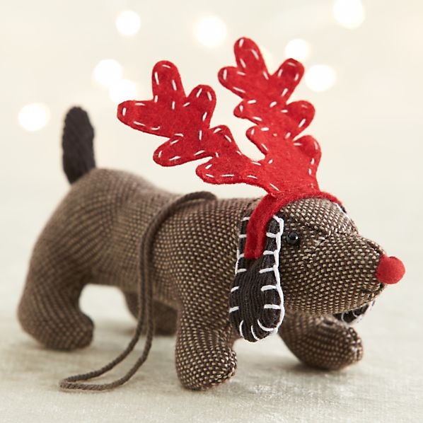 Tweed Dog With Red Antlers Ornament