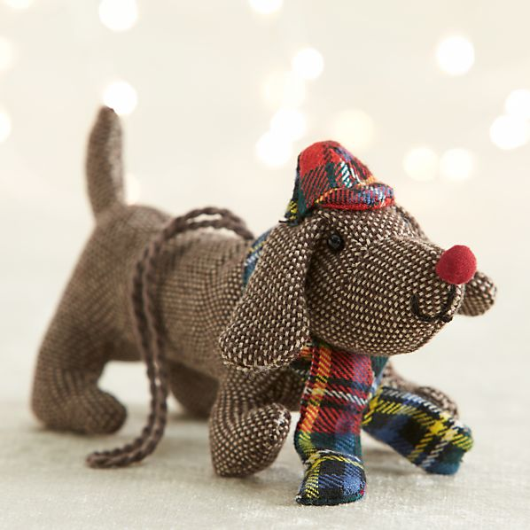 Tweed Dog With Red Scarf and Hat Ornament