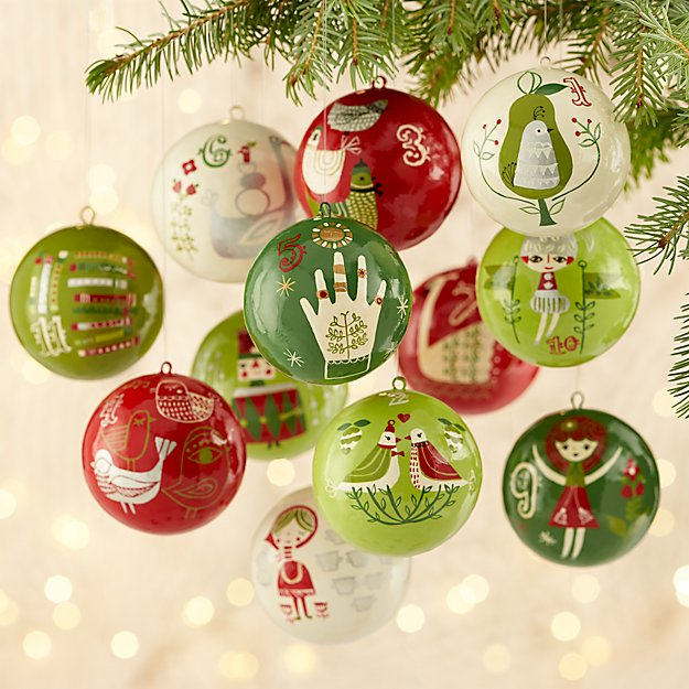12 Days of Christmas Ornaments, Set of 12