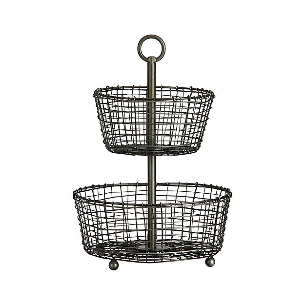 bendt 2 tier iron fruit basket reviews crate and barrel. Black Bedroom Furniture Sets. Home Design Ideas