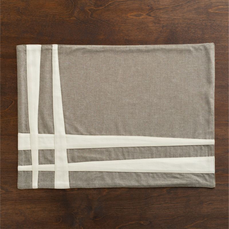 Parallel bands of neutral cotton sateen appliqué cross paths on gray chambray in a playful design that pairs neutrals with freeform graphics.<br /><br /><NEWTAG/><ul><li>100% cotton</li><li>Machine wash; dry flat, warm iron as needed</li></ul><br />