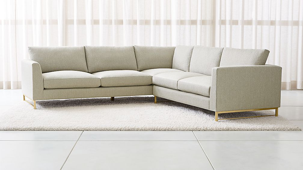 Tyson 2 Piece Left Arm Corner Sofa Sectional With Br Base Reviews Crate And Barrel