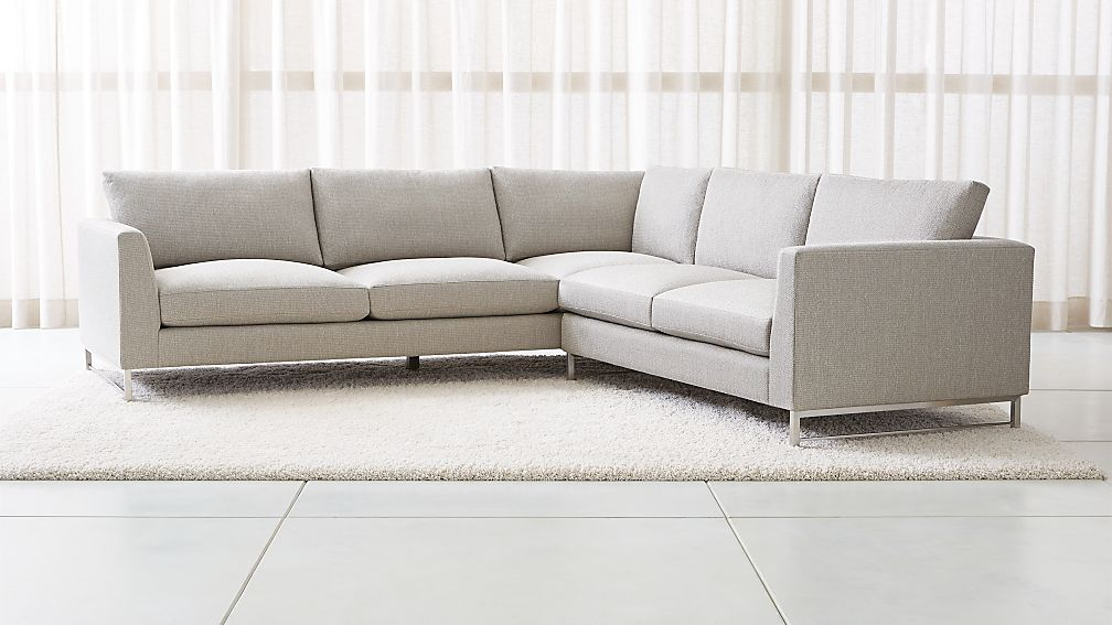 Tyson 2-Piece Left Arm Corner Sofa Sectional with Stainless Steel ...