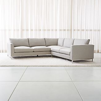 Tyson 2 Piece Left Arm Corner Sofa Sectional With Stainless Steel Base