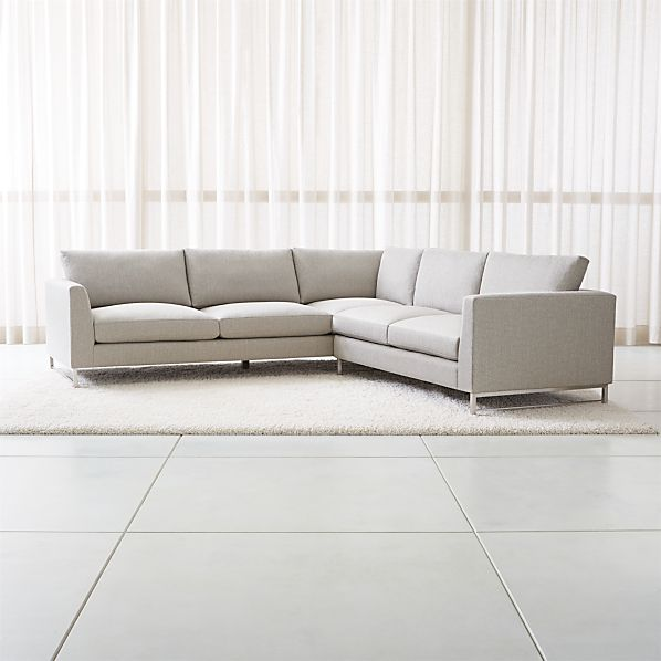 Tyson 2-Piece Left Arm Corner Sofa Sectional with Stainless Steel Base |  Crate and Barrel