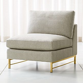 Merveilleux Tyson Armless Chair With Brass Base