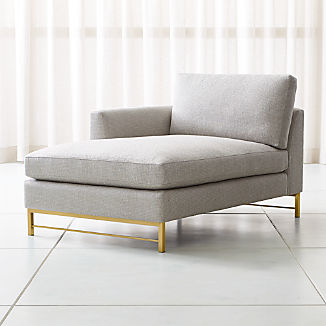Tyson Left Arm Chaise with Brass Base