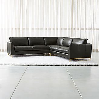 Tyson Leather 3 Piece Left Corner Sectional With Br Base