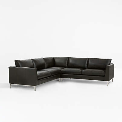 View testTyson Leather 3-Piece Left Corner Sectional with Stainless Steel Base
