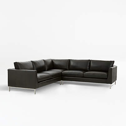 View testTyson Leather 3-Piece Right Corner Sectional with Stainless Steel Base