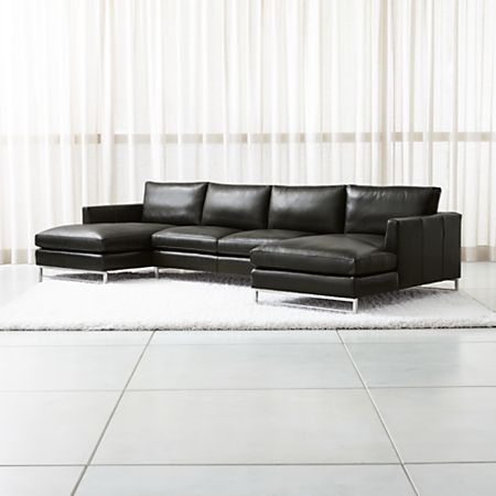 Tyson Leather 3-Piece Chaise Sectional with Stainless Steel Base + Reviews  | Crate and Barrel