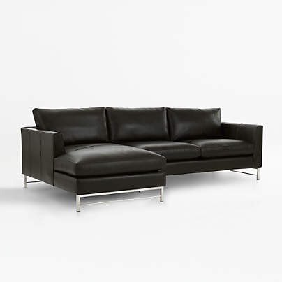 View testTyson Leather 2-Piece Left Arm Chaise Sectional with Stainless Steel Base