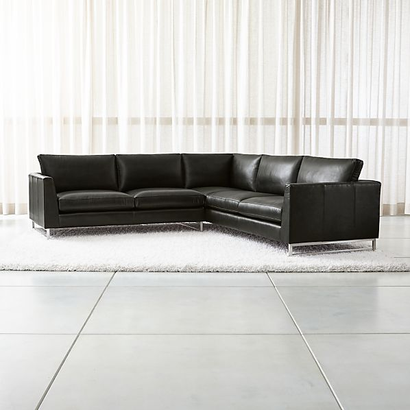 Tyson Leather 2-Piece Right Arm Corner Sofa Sectional with Stainless Steel  Base | Crate and Barrel