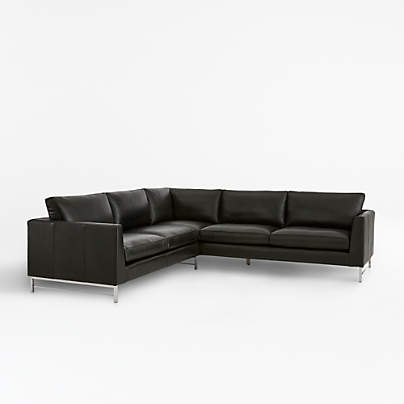 View testTyson Leather 2-Piece Right Arm Corner Sofa Sectional with Stainless Steel Base