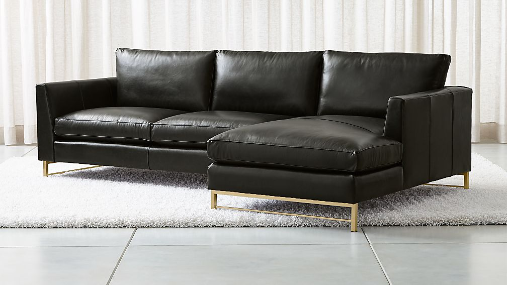 Tyson Leather 2-Piece Right Arm Chaise Sectional with Brass Base + ...