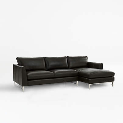 View testTyson Leather 2-Piece Right Arm Chaise Sectional with Stainless Steel Base