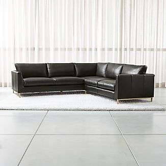 Charmant Tyson Leather 2 Piece Left Arm Corner Sofa Sectional With Brass Base