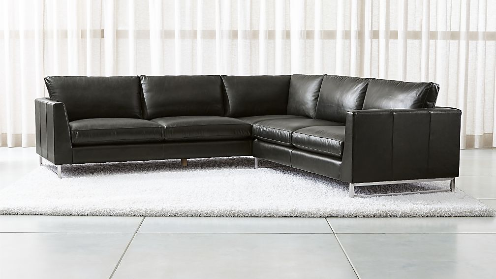 Tyson Leather 2-Piece Left Arm Corner Sofa Sectional with Stainless ...