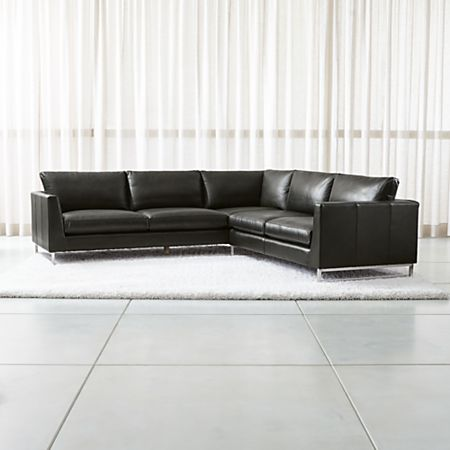 Tyson Leather 2-Piece Left Arm Corner Sofa Sectional with Stainless Steel  Base | Crate and Barrel